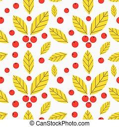 pattern., höst, seamless, bär, bladen