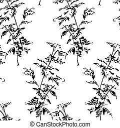 Pattern hand drawing watercolor black anemone flowers and leaves ornament