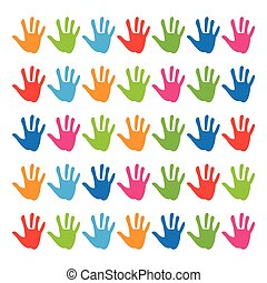 pattern-hands - hand prints on a white background
