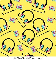 pattern headphone with cassette tape of nineties