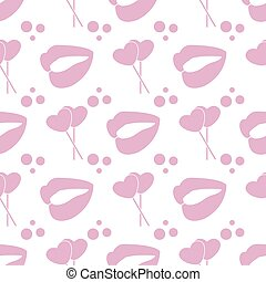 Pattern heart shaped sweets, lips. Valentine's Day