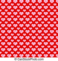 Pattern hearts on a red background