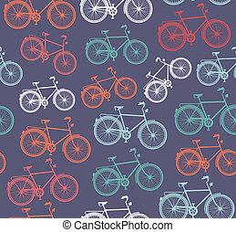 pattern., hipster, vélo, retro, seamless