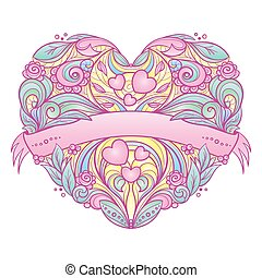 pattern., hjerte, ornamental, blomstrede