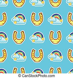 Pattern horse shoe and rainbow with white clouds and stars on blue background. Multicolored rainbow with clouds and horseshoe seamless pattern.