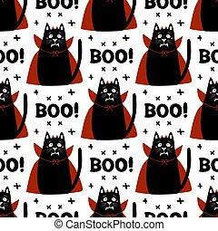 pattern., illustration., usure, word., vampire, croix, crocs, halloween, éléments, rouges, cloak., griffonnage, blanc, vecteur, mignon, cornes, stockage, seamless, chat, déguisement, huée, isolé, arrière-plan., dessin animé