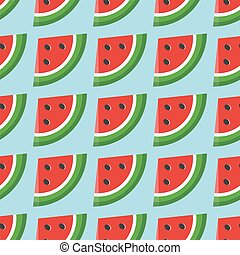 Pattern image of a piece of watermelon on a blue background