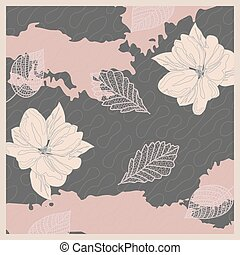 Pattern in calm colors pastel pink delicate background bandana handkerchief with floral ornament. Original retro design of the scarf.