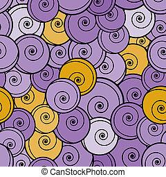 pattern., krullen, seamless, gele, viooltje