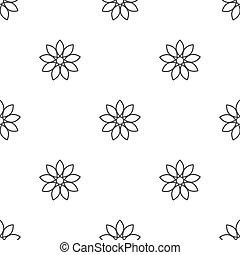 pattern., kwiat, płaski, czarnoskóry, słońce, szkic, seamless, kwiaty, tło., biały