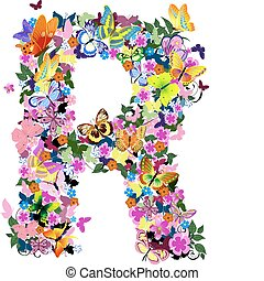 Pattern letter of butterflies and flowers