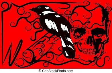 pattern line skull and bird danger