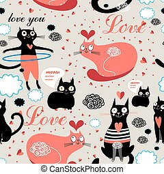 pattern lovers cats - Seamless graphic pattern of funny cats...