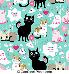 pattern lovers cats - Seamless pattern with lovers cats on ...