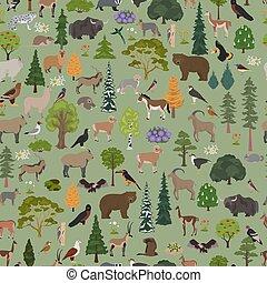 pattern., map., naturale, seamless, uccelli, animali,...