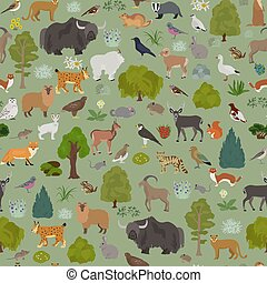 pattern., map., rośliny, kasownik, seamless, ptaszki, apine...