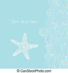 pattern., maritime, océan, fond, vagues, etoile mer, texture.