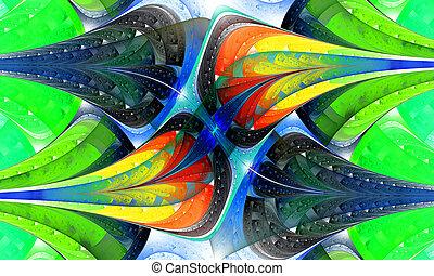 pattern., mehrfarbig, erzeugt, edv, graphics., fractal