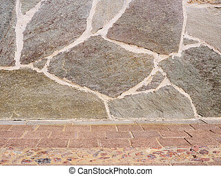 real stone wall surface with cement