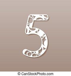 pattern., número, laser, vector, cinco, redondo, ...