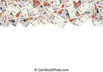 Pattern of 1000 Cambodian riels banknote is national currency of Cambodia