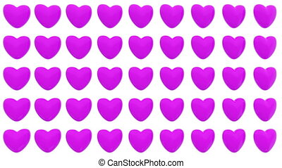 Pattern of 3D hearts isolated on white background