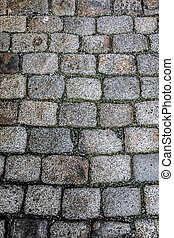 Pattern of a cobblestones on a road