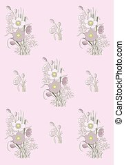 pattern of anemone on a pink background. vector sample...