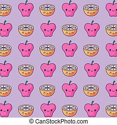 pattern of apples with sliced oranges kawaii style