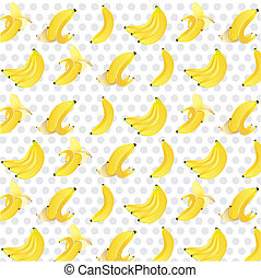 pattern of bananas background, isolated on gray dotted...