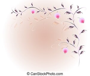 Pattern of beautiful flowers on a red base. EPS10 vector illustration