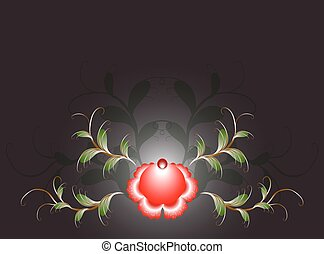 Pattern of beautiful red flower on a black base. EPS10 vector illustration