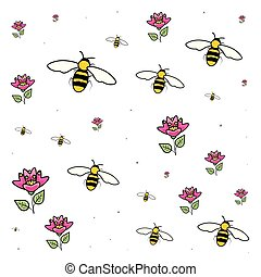 pattern of bees insects with flowers