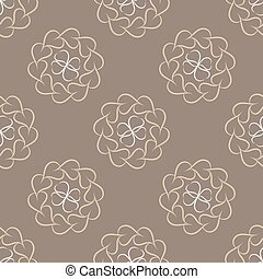 Pattern of beige leaves or hearts - Seamless pattern of...