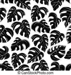 pattern of black palm leaves on white background