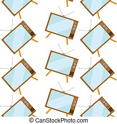 Pattern of brown, old, vintage, retro, hipster TVs with bulging kinescope on legs with an antenna on a white background. Vector illustration.