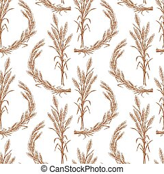 pattern of bunches of ripe wheat