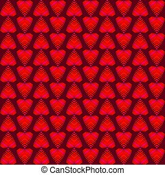 Pattern of burgundy hearts and iridescent stripes.