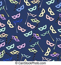 pattern of carnival masks. vector illustration. Drawing by hand.