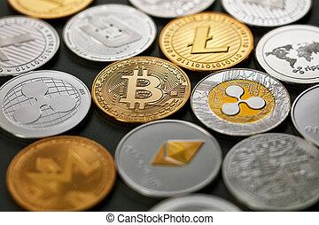 Pattern of coins LTC, ETH, BTC, XMR, XRP on a dark ...