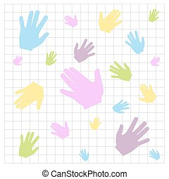 Pattern of colored handprints on a white background. Multicolor pattern for your design cards, presentations.