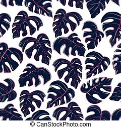 pattern of colored palm leaves on white background