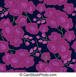 pattern of colorful Orchid flowers vector illustration.stock vector images of beautiful pink Orchid flowers. bright background.