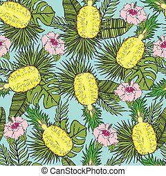 Pattern of cut pineapple with tropical leaves and flowers. On a blue background.