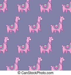 pattern of cute alpacas kawaii style