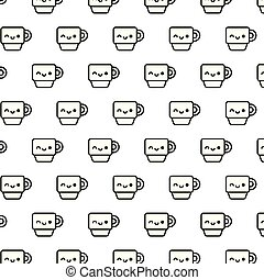 pattern of cute cups kawaii style