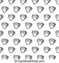 pattern of cute cups kawaii style