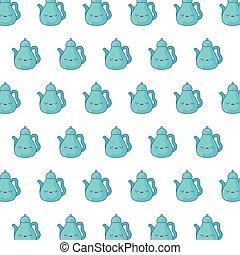 pattern of cute teapots kawaii style