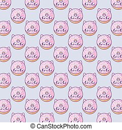 pattern of delicious donuts with face cat kawaii style