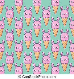 pattern of delicious ice creams with face rabbit kawaii style